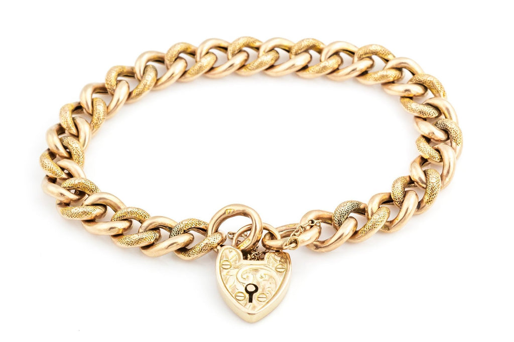 Antique Gold Bracelet with Heart Padlock c.1900