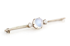 Art Deco Silver Moonstone Brooch c.1930