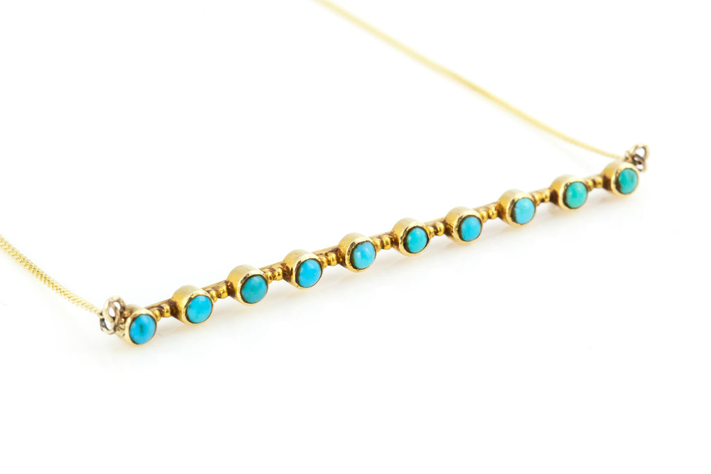 ON HOLD Victorian Gold Turquoise Necklace c. 1850