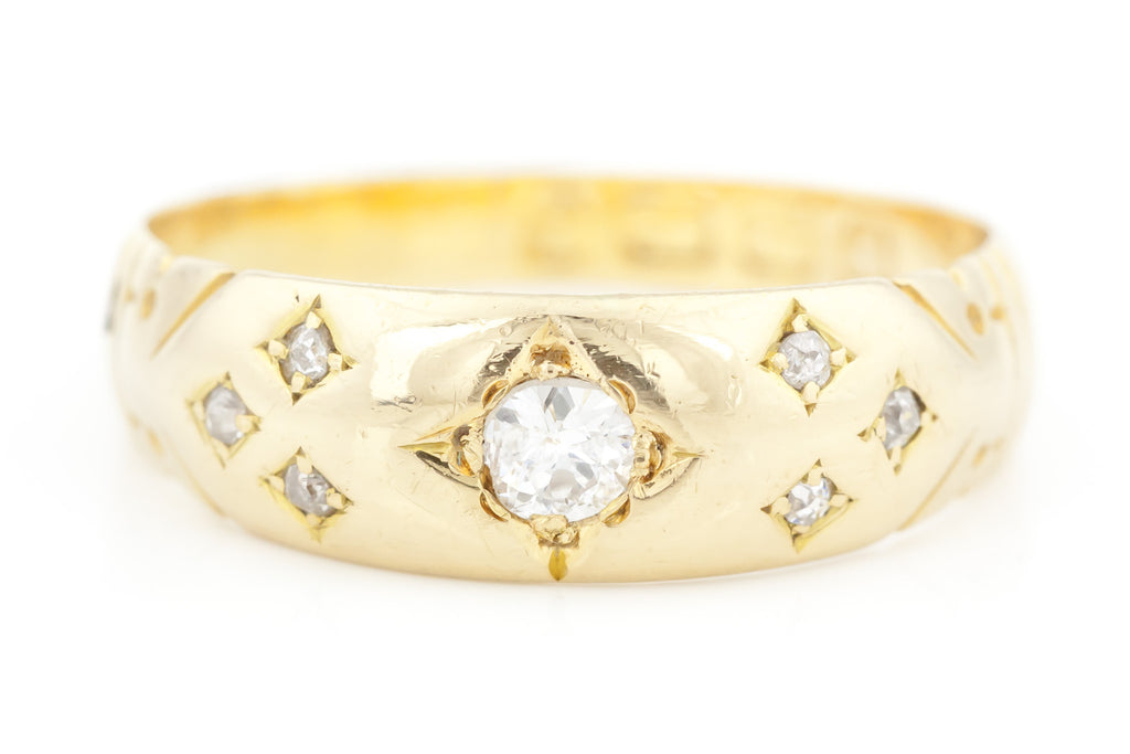 18ct Gold Victorian Diamond Gypsy Ring c.1892