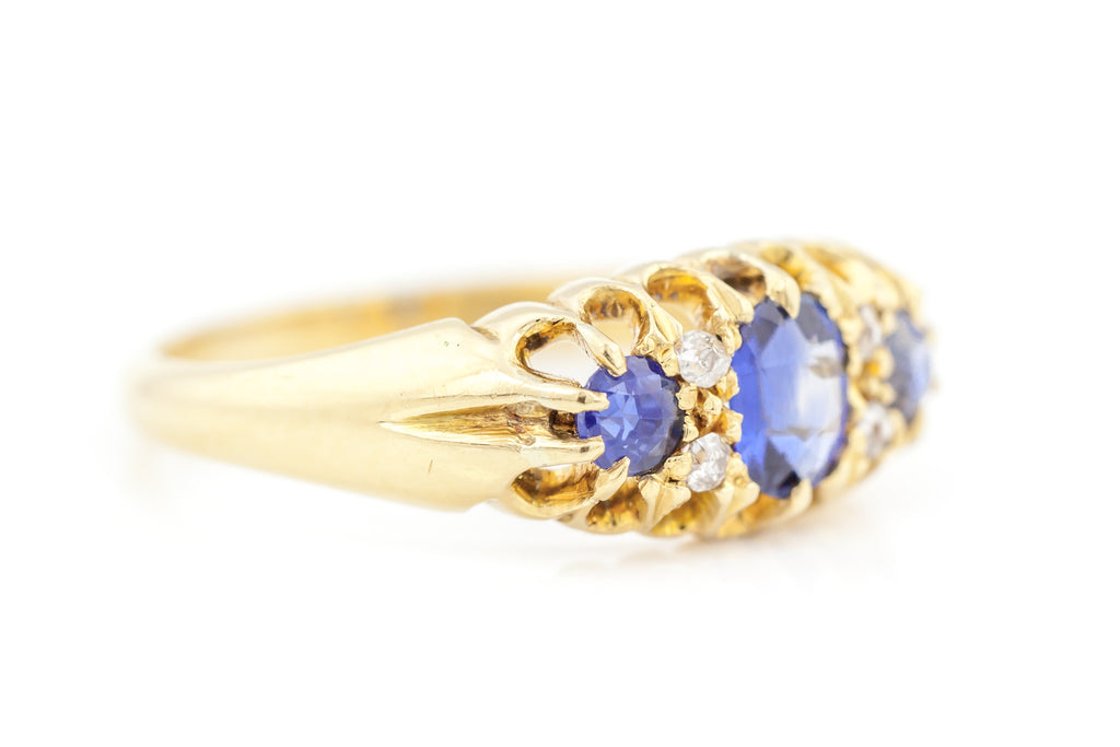 Antique Sapphire and Diamond Boat Ring c.1909