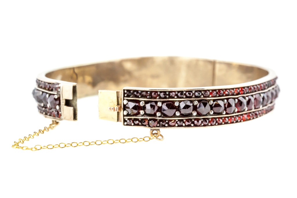 Antique Bohemian Garnet Bangle - c.1880