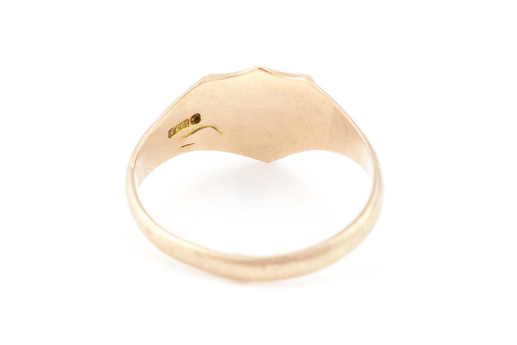 Antique Rose Gold Shield Signet Ring c.1915