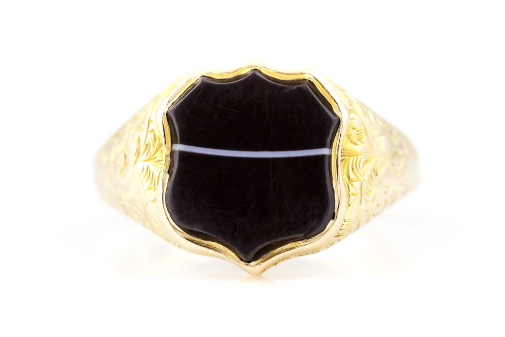 Antique 15ct Gold Banded Agate Ring c.1865