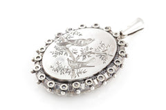 Antique Victorian Silver Locket with Sweet Birds c.1880