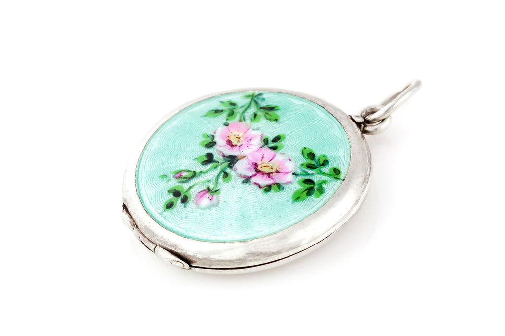 Enamel Art Nouveau Guilloche Locket c.1910