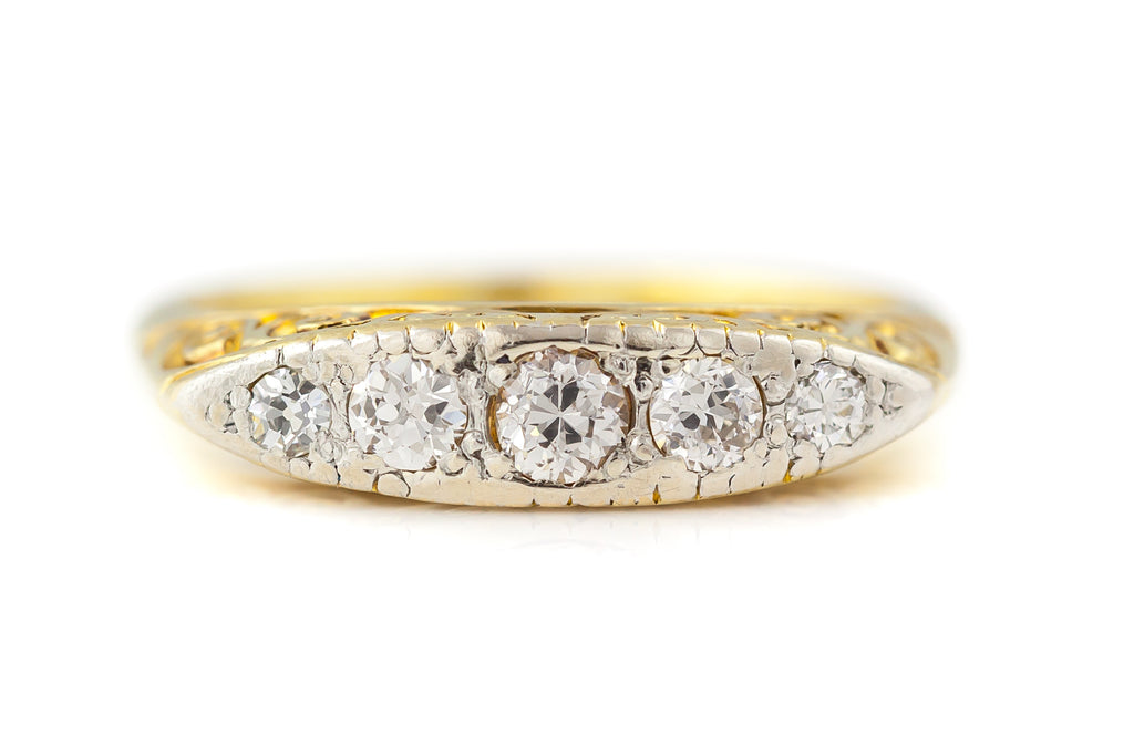 Antique 18ct Gold Diamond Boat Ring c.1900