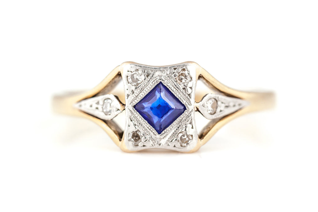 18ct Gold Art Deco Sapphire & Diamond Ring c1920
