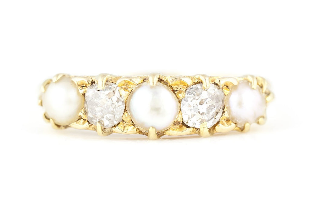 Antique 18ct Gold Diamond & Pearl Ring c.1880
