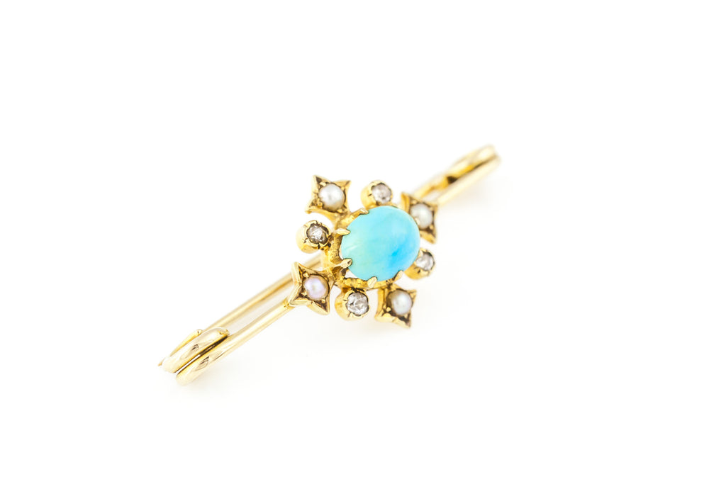 Antique 18ct Gold Turquoise and Diamond Bar Brooch c.1890