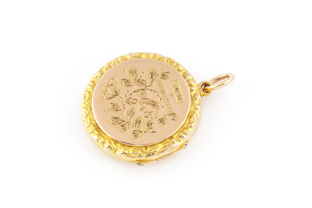 RESERVED! -Edwardian 9ct Gold Locket with Little Bird c.1910