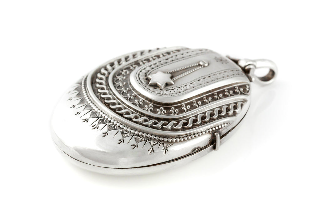 "Victorian Silver Locket with 18"" Heavy Belcher Chain c.1883"