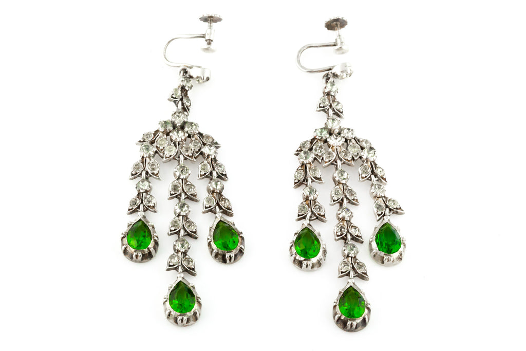 Antique Paste Girandole Earrings c1890