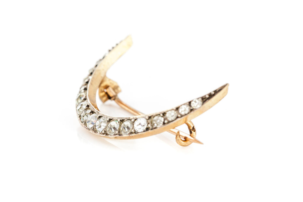 Antique Silver Paste Crescent Moon Brooch, with Rose Gold Back c.1900