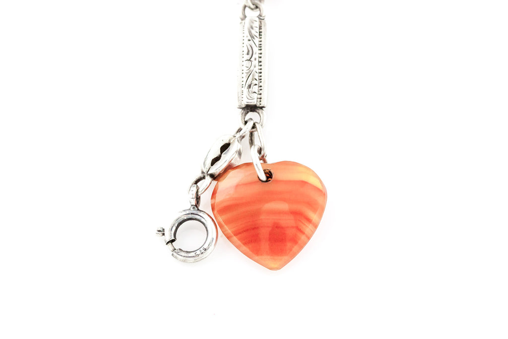 Antique Victorian Agate Silver Bracelet with Heart Charm - c.1880