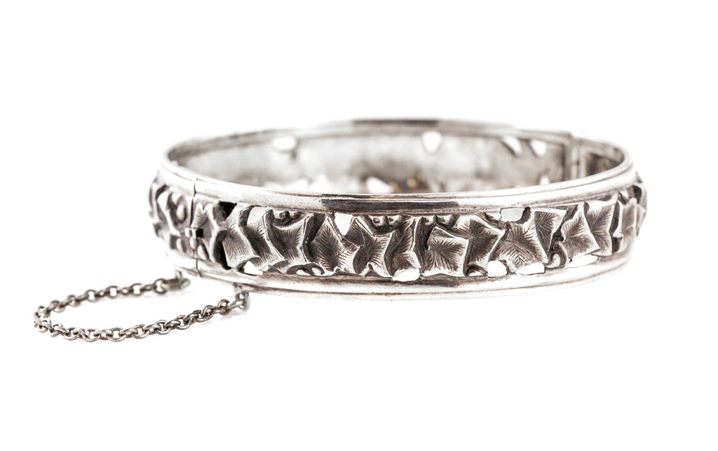 Antique French Silver Bangle with Wild Ivy c.1900