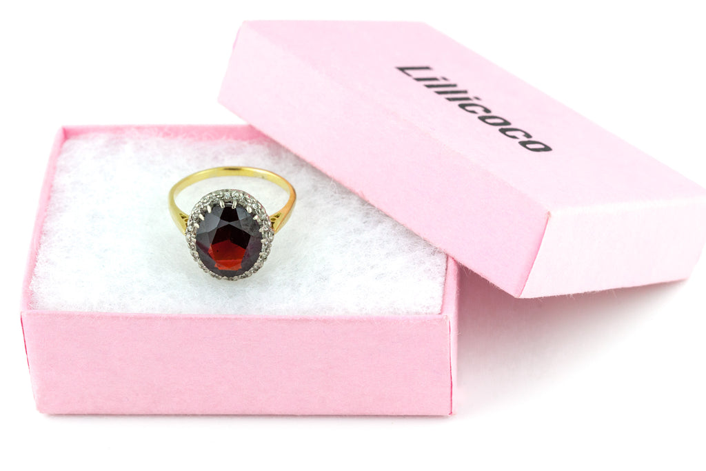 18ct Gold Antique Garnet Diamond Cluster Ring, (5ct Garnet) c.1900