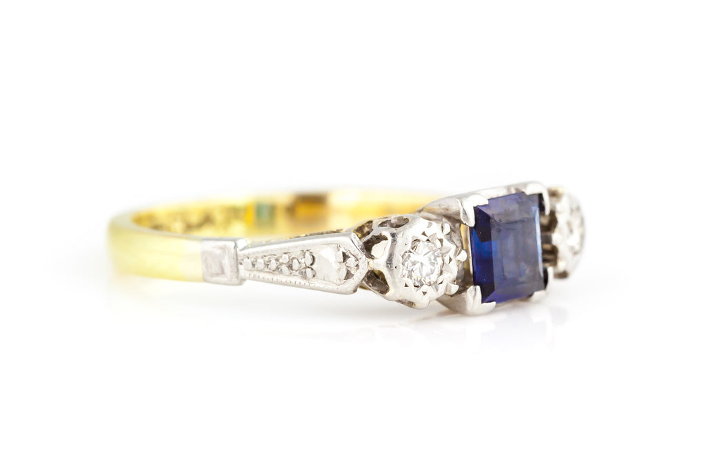 Art Deco Sapphire & Diamond Trilogy Engagement Ring c.1920