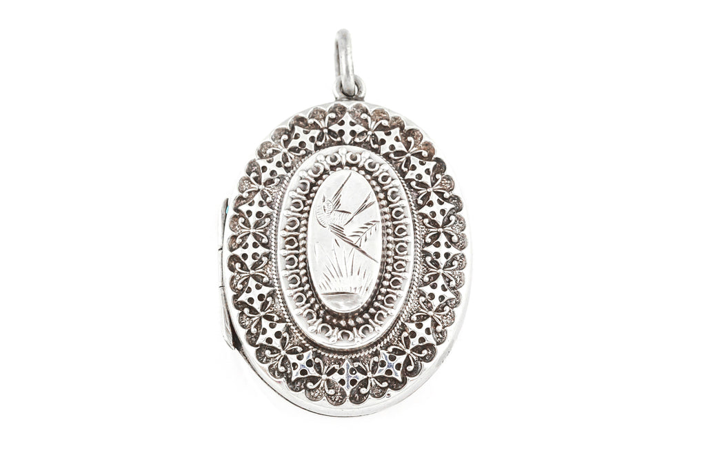 Silver Victorian Aesthetic Locket with Bird Engraving