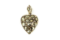 Antique Heart Charm Pendant with Giant Marcasites c.1850