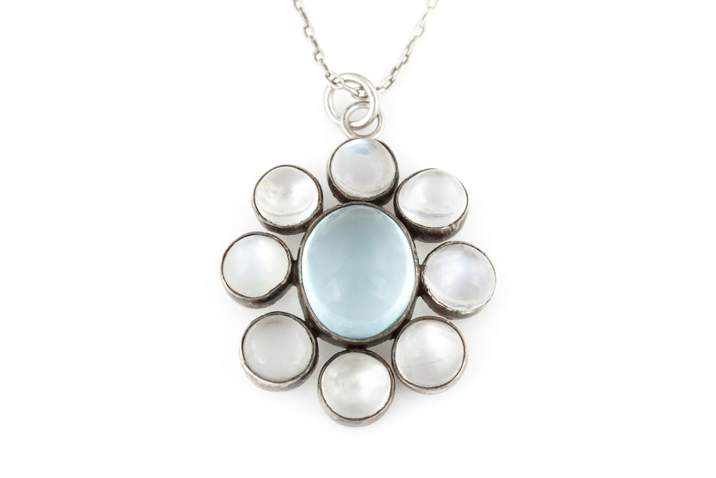 Antique Silver Moonstone Pendant with Chain c.1890