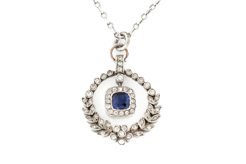 Edwardian Blue Paste Pendant, with original Chain c.1905