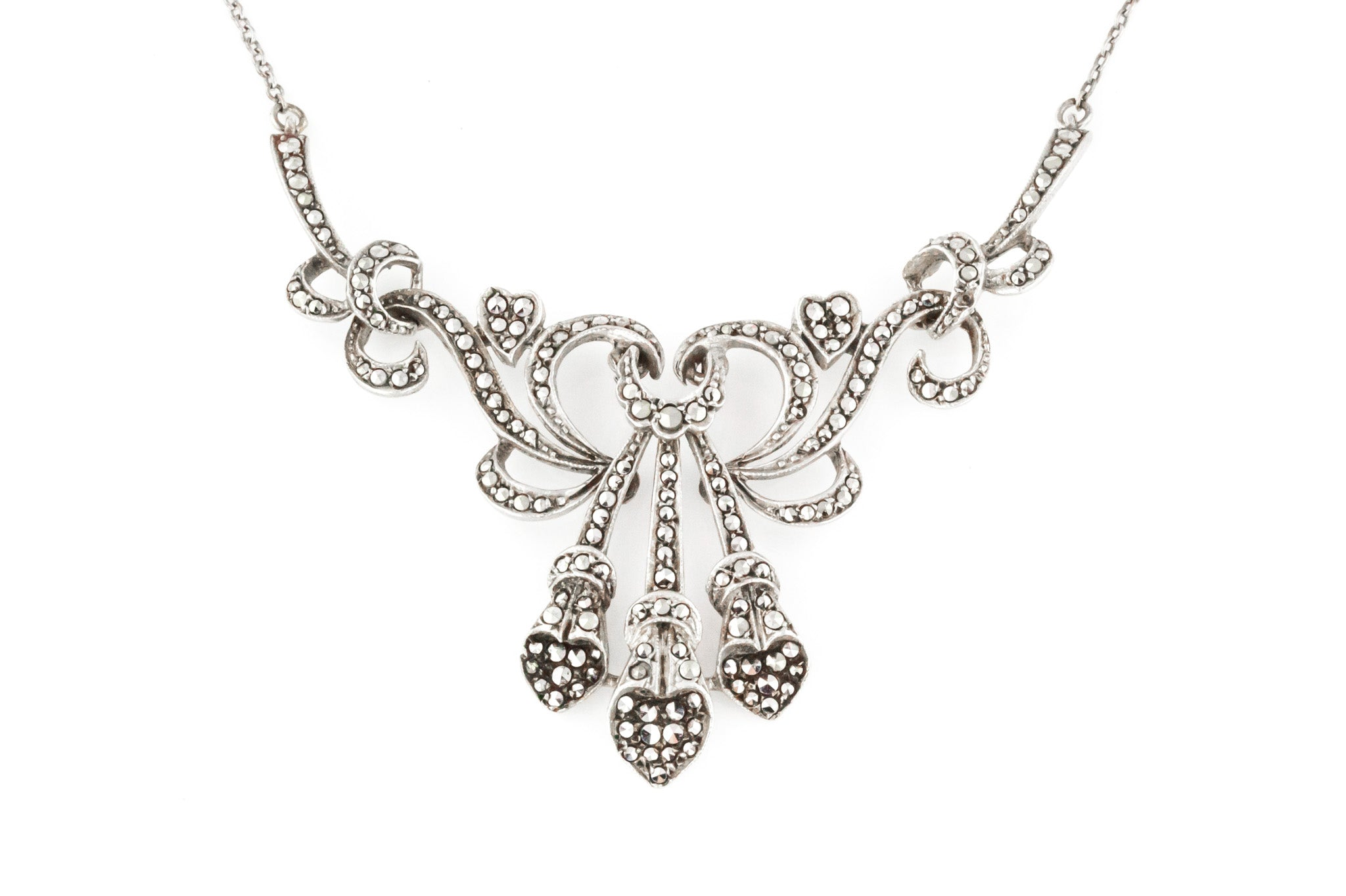 Art Nouveau Silver Marcasite Necklace c.1910