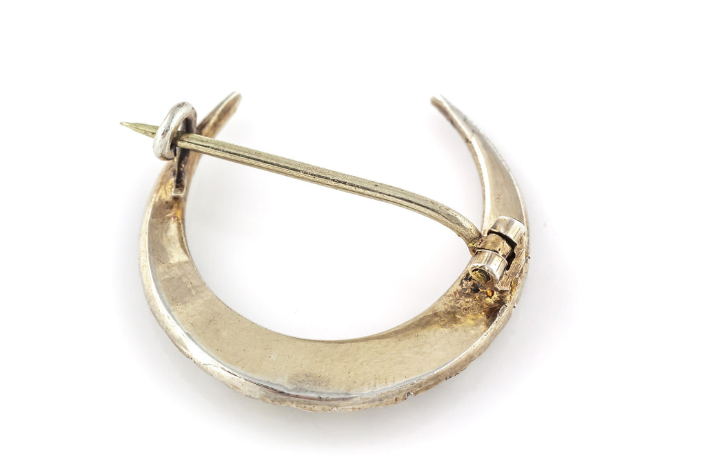 French Antique Silver Rose Cut Paste Moon Brooch c.1880