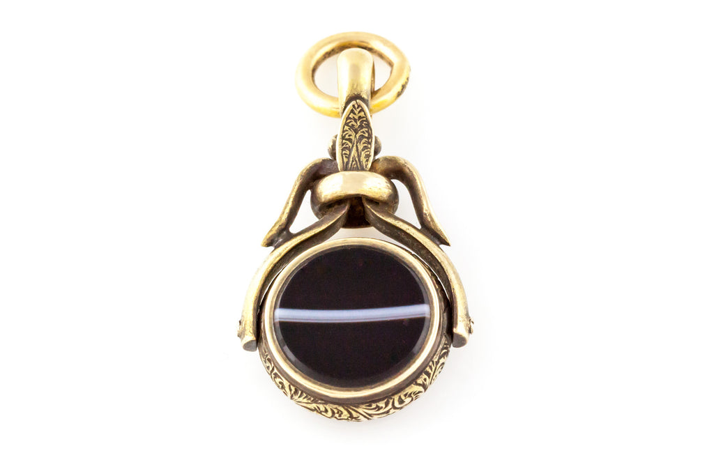 Victorian Spinner Fob Pendant with Banded Agate & Carnelian in 15ct Yellow Gold