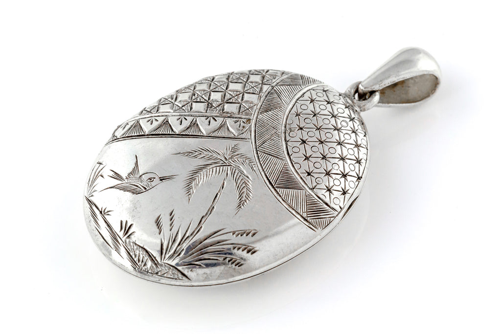 Antique Victorian Aesthetic Silver Oval Locket