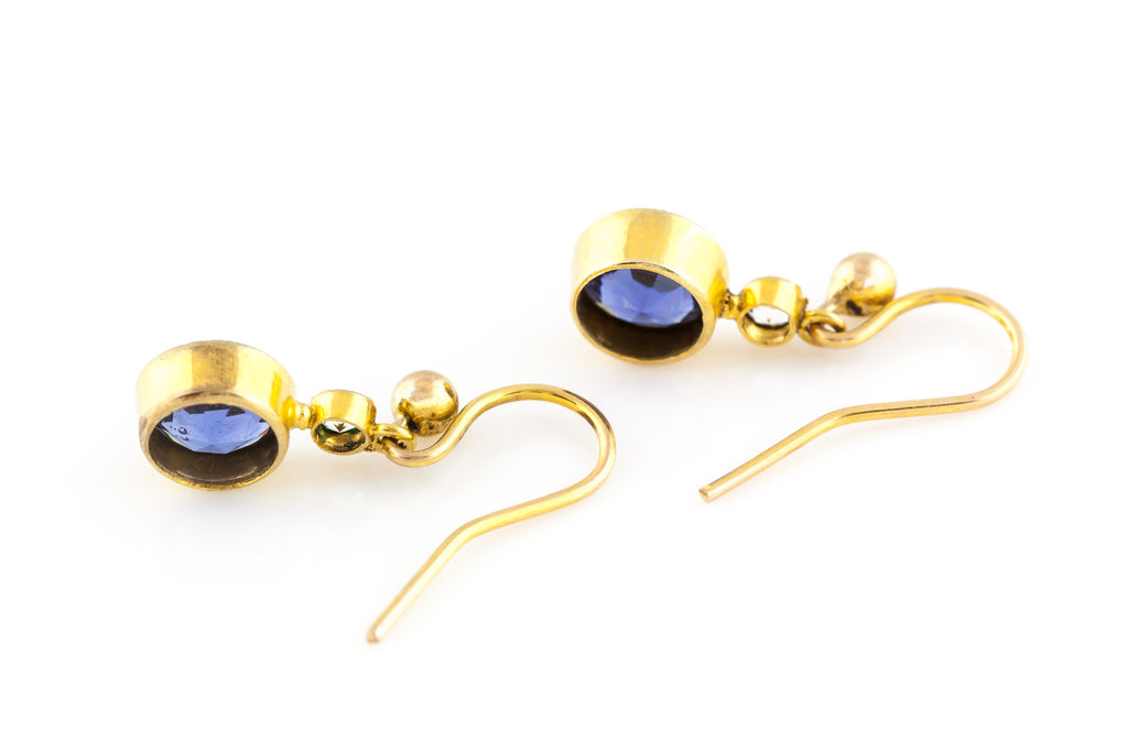9ct Gold Art Deco Sapphire & Diamond Paste Earrings c.1920