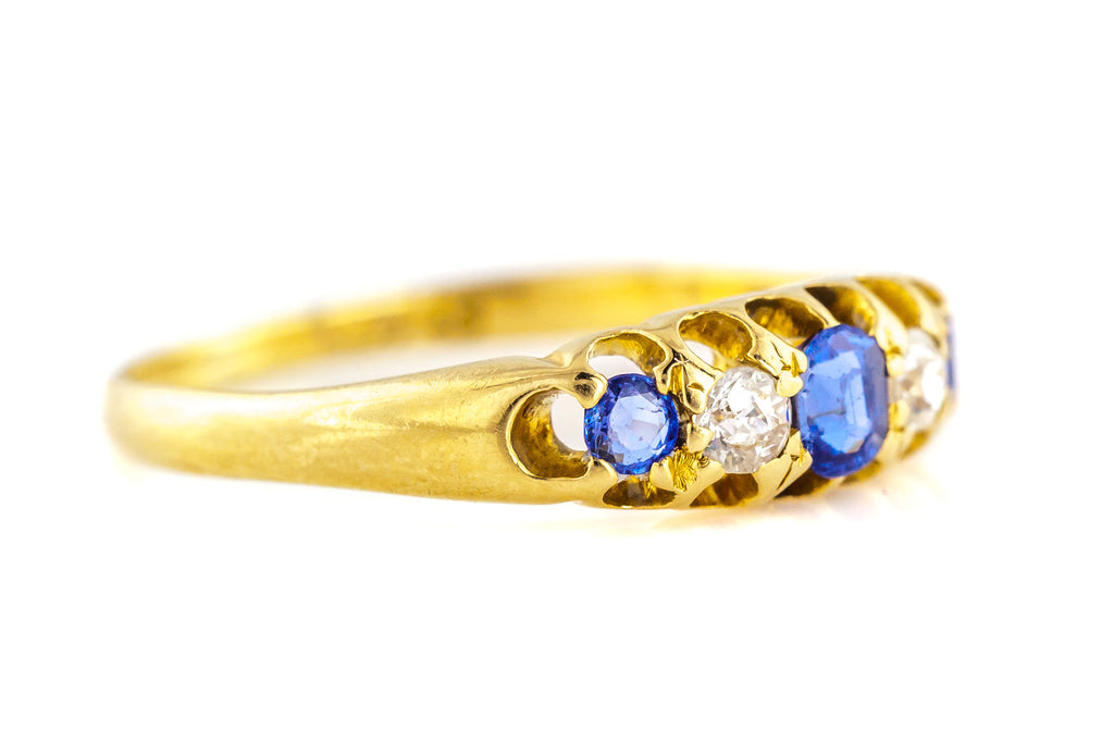 Antique 18ct Gold Sapphire and Diamond Ring c.1897