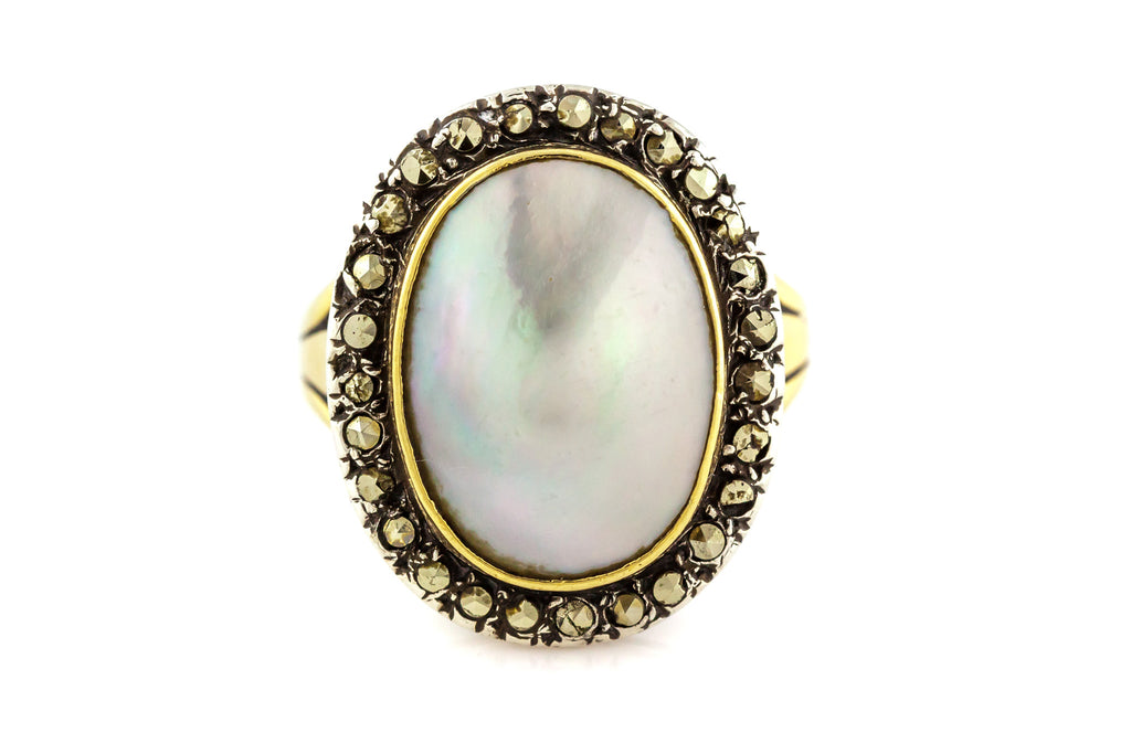 18ct Gold Blister Pearl & Marcasite Ring c.1840
