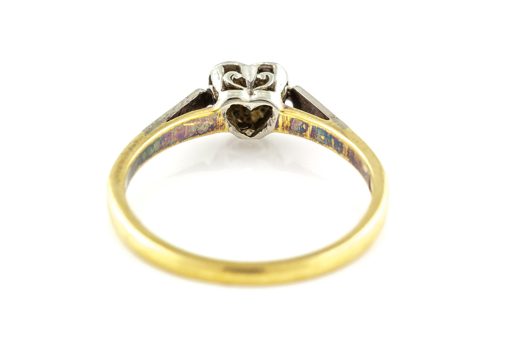 Art Deco Heart Engagement Ring