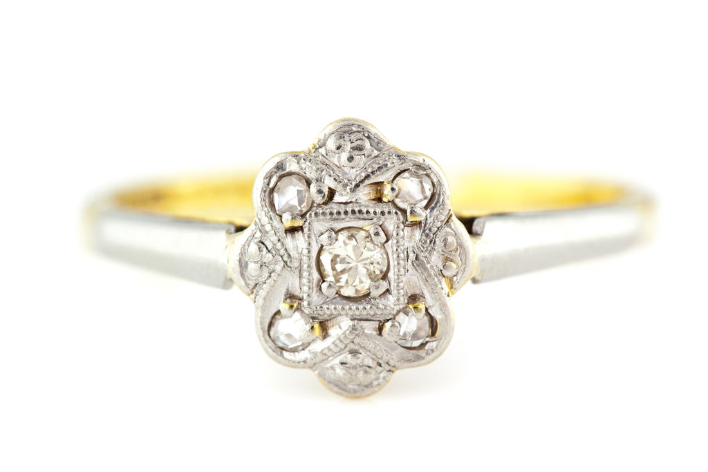 Fine 18ct Gold Art Deco Diamond Cluster Ring c.1920