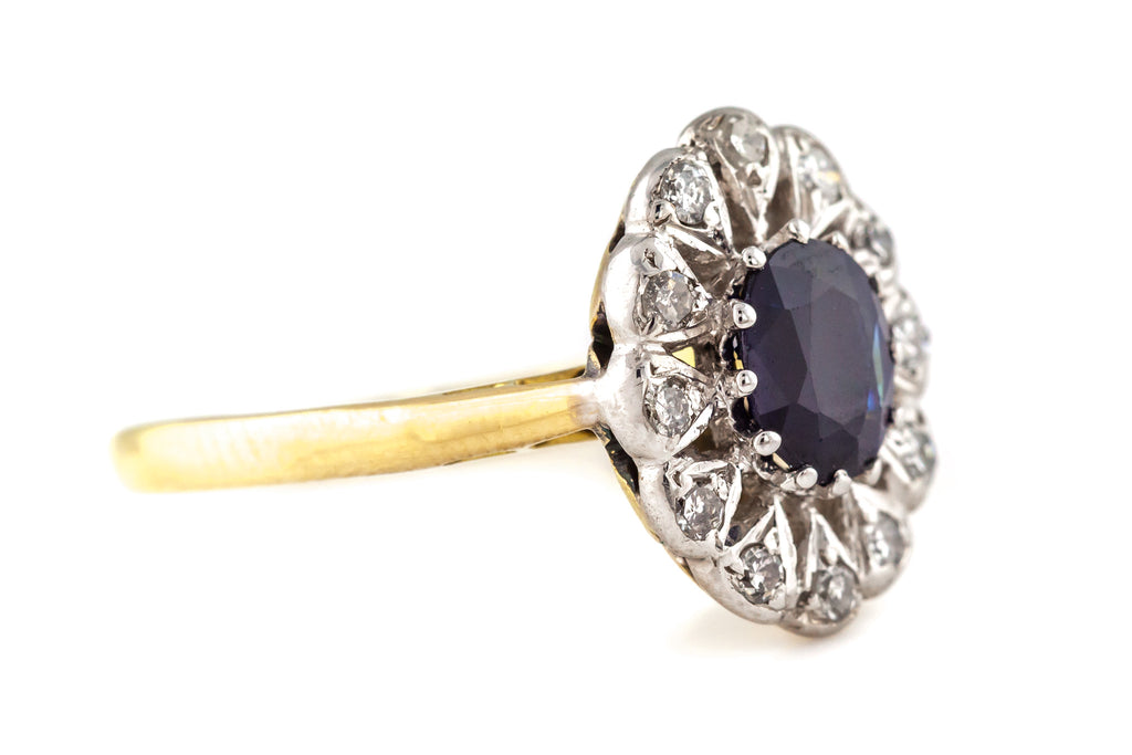 RESERVED! - 18ct Gold Sapphire & Diamond Cluster Ring c.1950