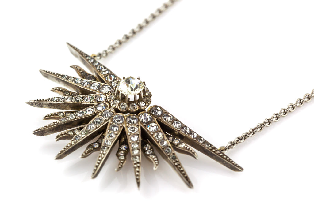 Victorian Paste Star Necklace (Integral Chain) c.1880