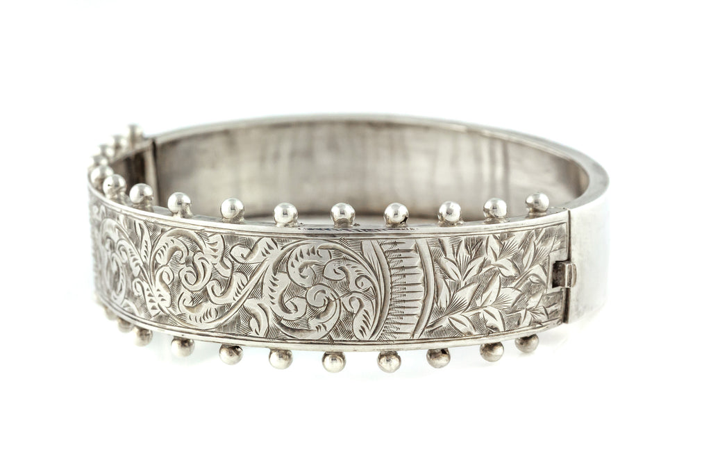Antique English Silver Victorian Aesthetic Bangle c.1883