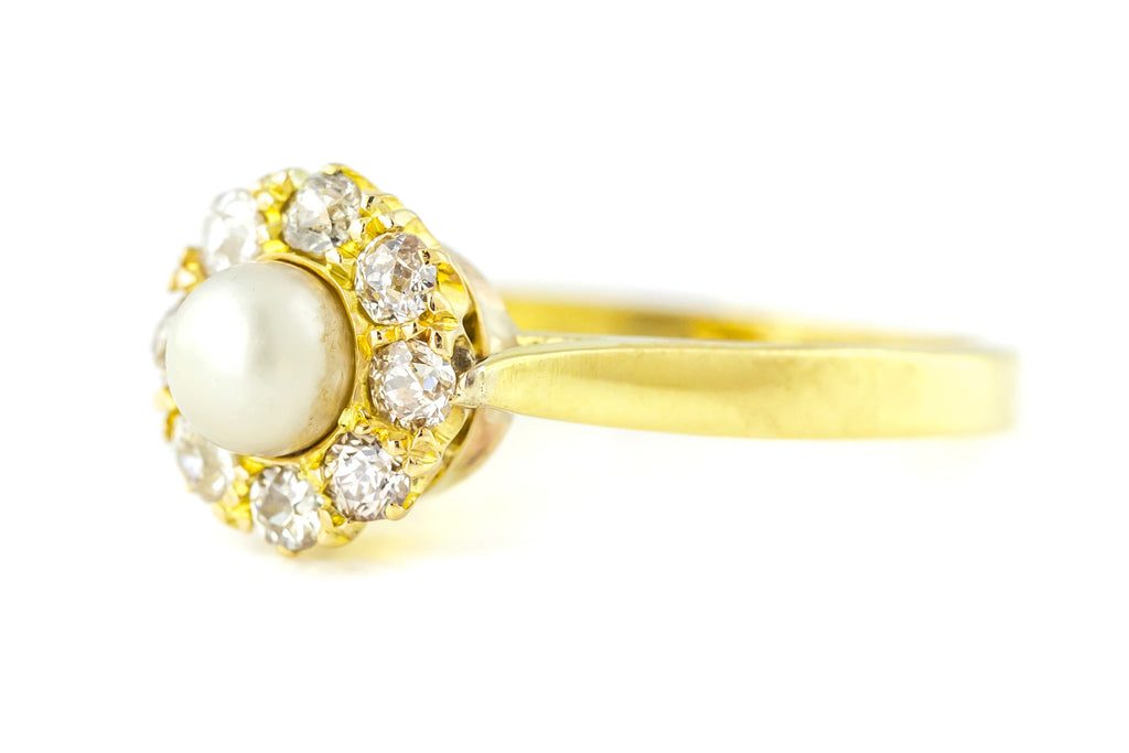 Victorian Pearl and Diamond Cluster Ring Conversion