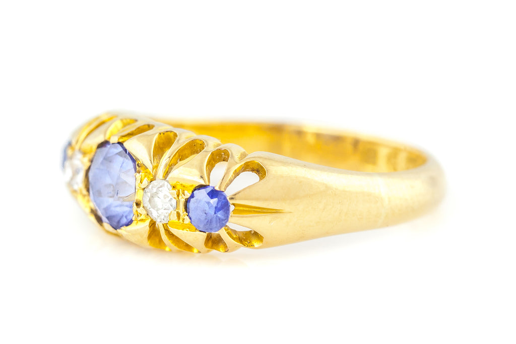 Edwardian 18ct Gold Sapphire & Diamond Ring c.1910