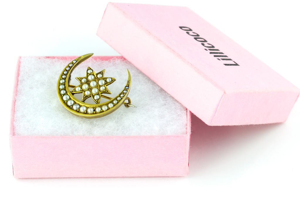 15ct Gold Antique Crescent Moon Pearl Brooch c.1900