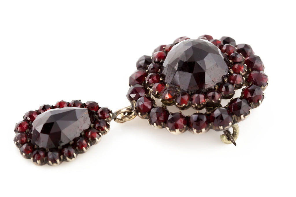 Antique Garnet Pendant with Beautiful Pear-Shaped Drop c.1850