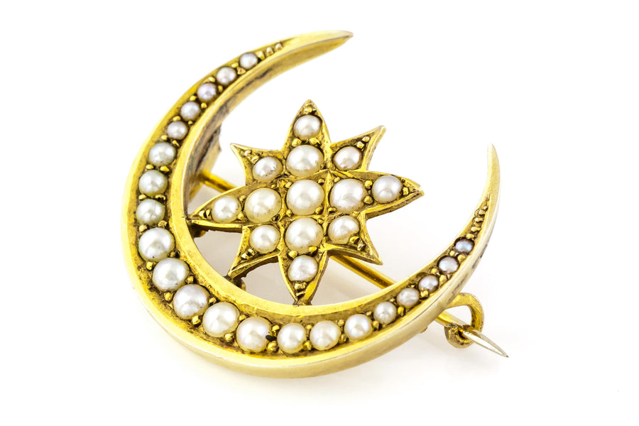 Crescent moon and star pearl brooch
