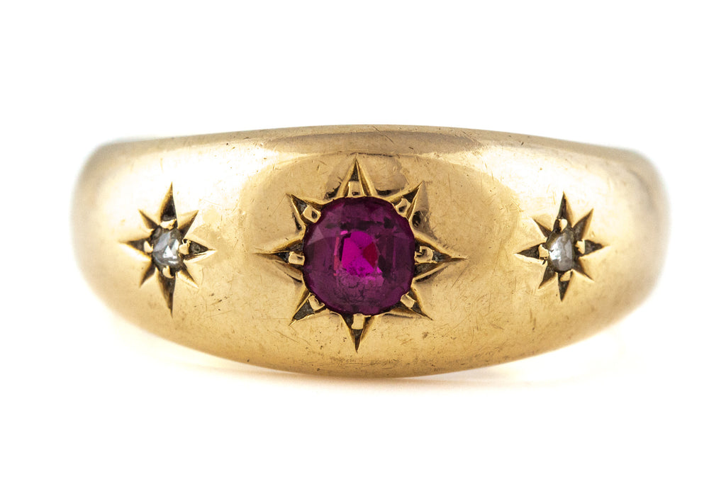 Antique 18ct Gold Ruby & Diamond Gypsy Ring c.1895
