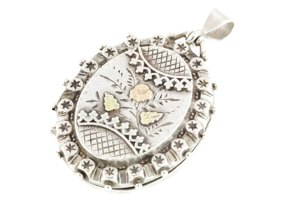 Victorian Aesthetic Silver Locket with Rose and Green Gold Detail
