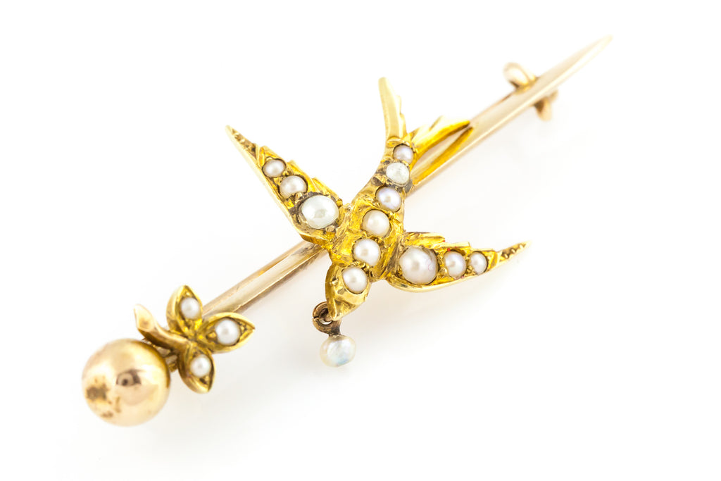 Antique 9ct Gold Pearl Bird Brooch, with Box c.1900