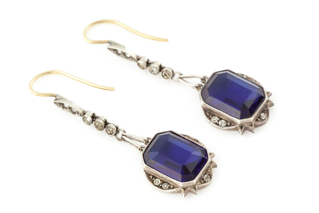 Sapphire Paste Art Deco Drop Earrings c.1920