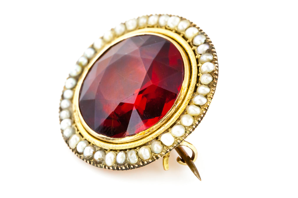 Statement Ruby Red Antique Brooch