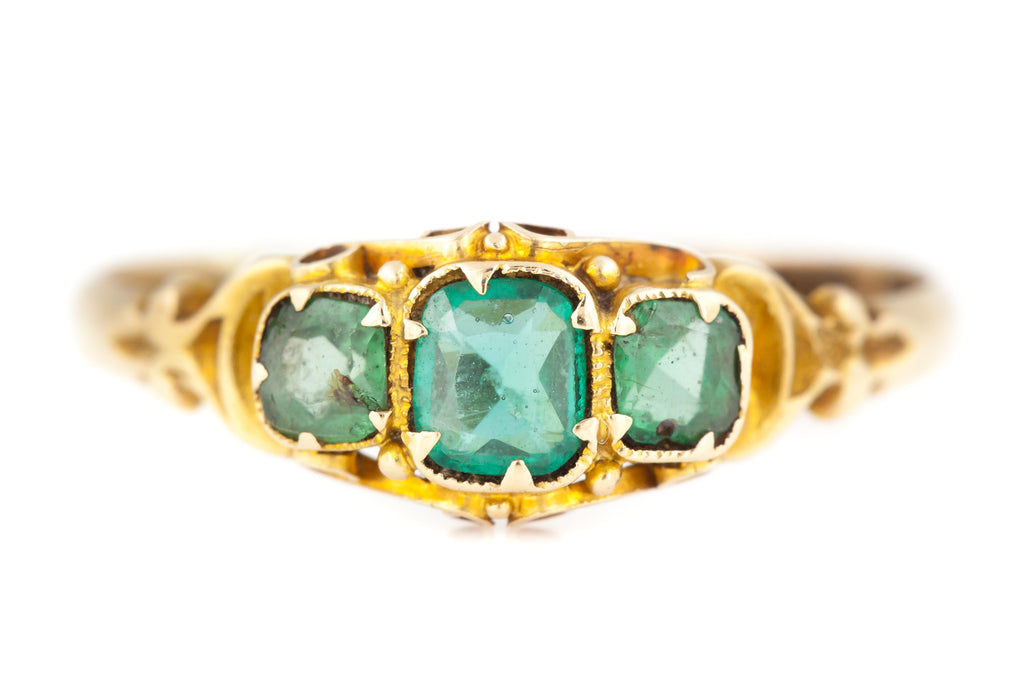 Antique Emerald Paste Trilogy Ring c.1860