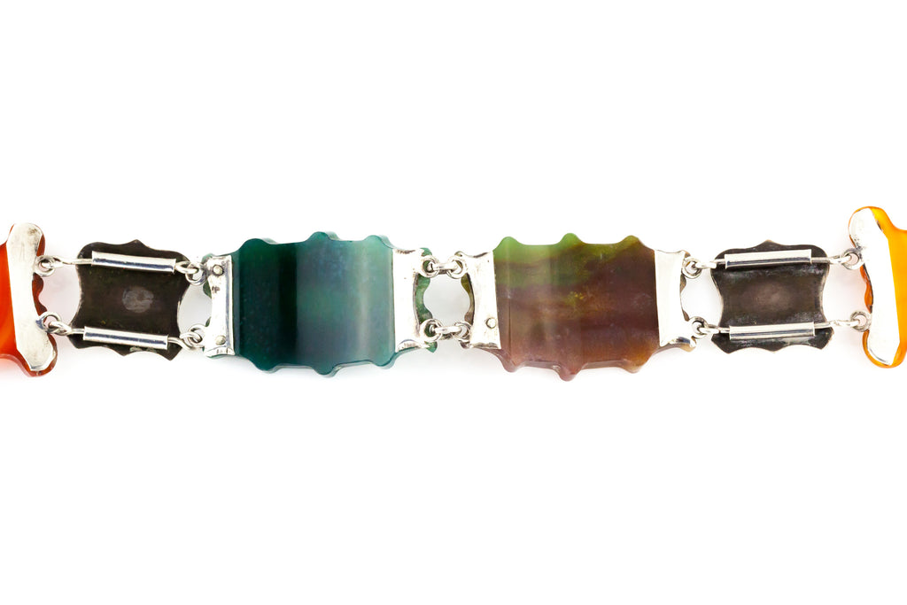 Antique Scottish Agate Bracelet with Padlock c.1880
